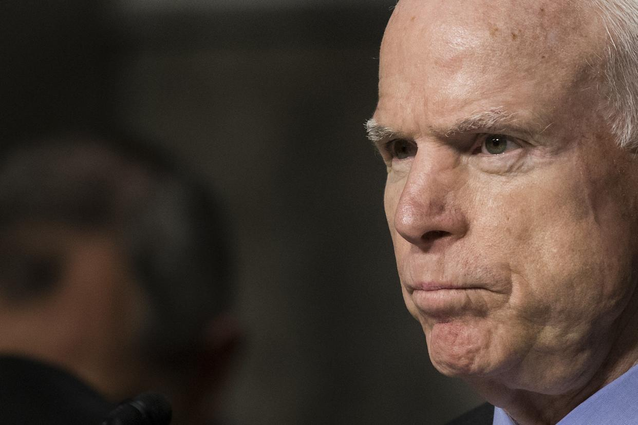 """""""Donald Trump's behavior this week, concluding with the disclosure of his demeaning comments about women and his boasts about sexual assaults, make it impossible to continue to offer even conditional support for his candidacy,"""" McCain said in a statement."""