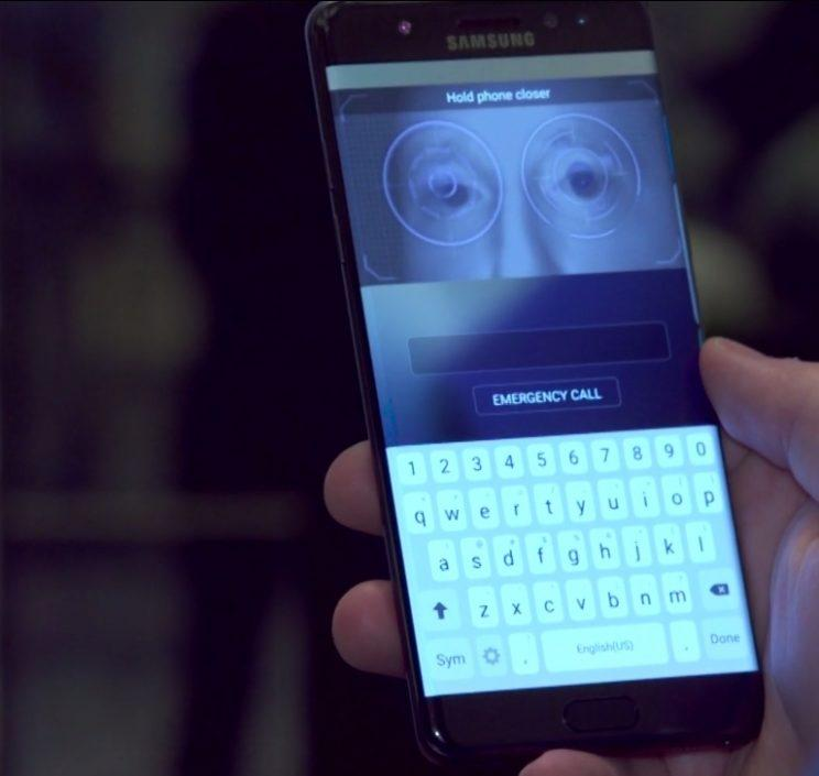 A photo of the Note7's iris scanner