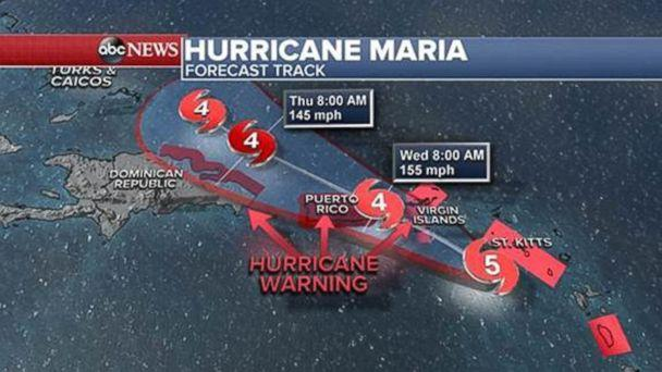 PHOTO: Hurricane Maria forecast track as of Sept. 19, 2017. (ABC News)