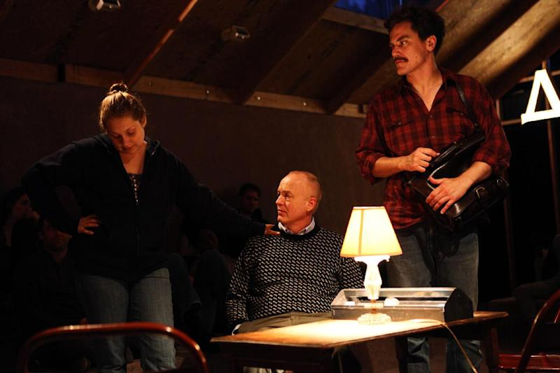 "This undated theater image released by Blake Zidell & Associates shows, from left, Merritt Wever, Reed Birney and Michael Shannon, in a scene from Annie Baker's adaptation of ""Uncle Vanya"",  performing off-Broadway at Soho Rep in New York.  (AP Photo/Blake Zidell & Associates, Julieta Cervantes)"