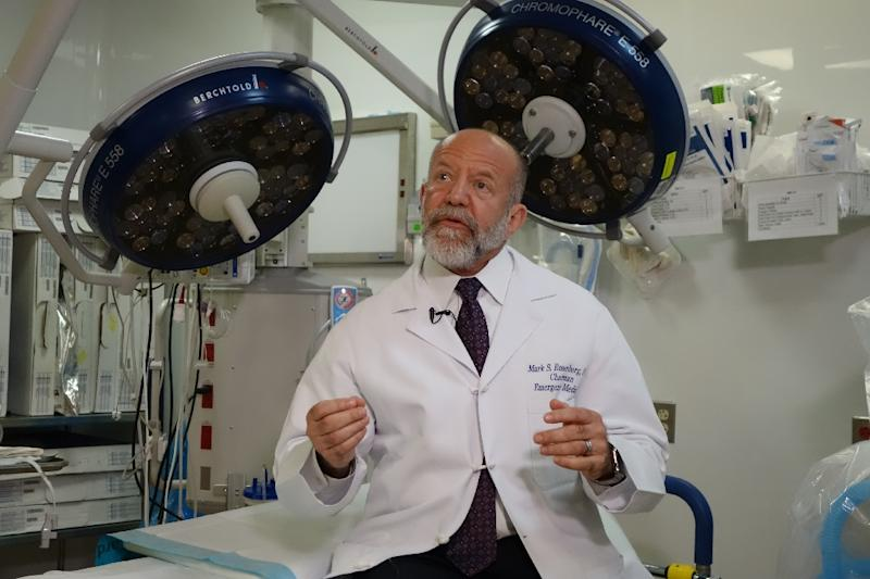 Dr. Mark Rosenberg explains the 'Alternatives to Opioids' or 'ALTO' program which he leads at St Joseph's Medical Center in Paterson, New Jersey (AFP Photo/William EDWARDS)