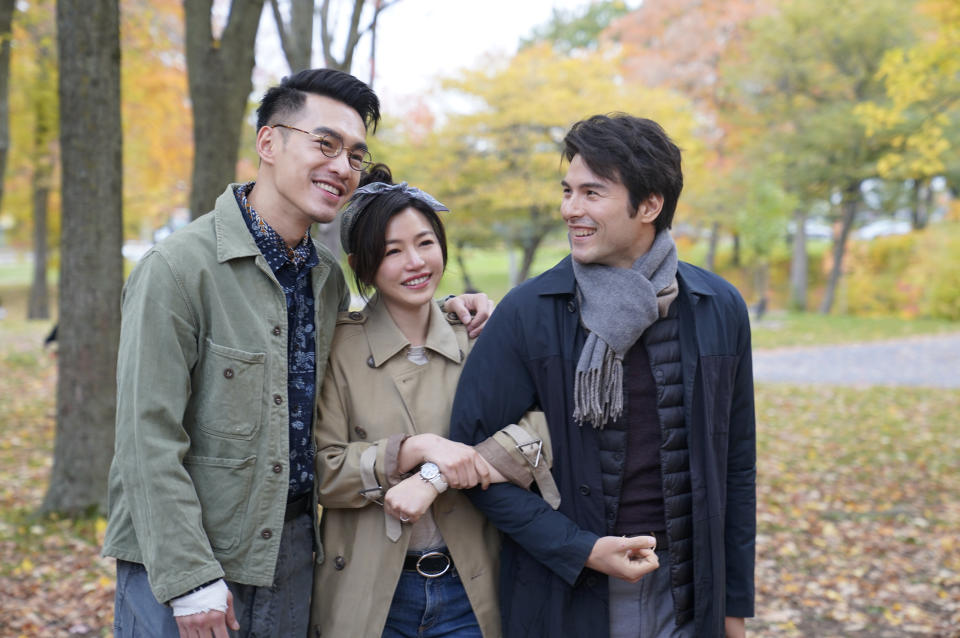 Bryan Chang (left) as Ah Cheng in A Trip With Your Wife, with Michelle Chen as Xiaoya and Rhydian Vaughan as Ah Zhi. (Photo: MM2 Entertainment)