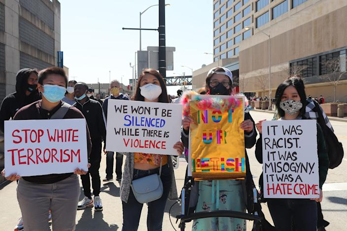 Image: Demonstrators marched in Atlanta Saturday to rally against anti-Asian violence. (Hanna Park)