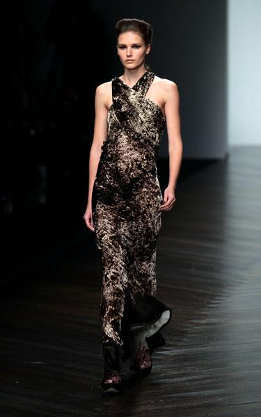 <b>LFW AW13: Maria Grachvogel </b><br><br>The collection had a strong tribal feel to it.<br><br>© PA