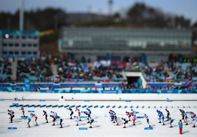 <p>Competitors start during the Men's 50km Mass Start Classic on day 15 of the PyeongChang 2018 Winter Olympic Games at Alpensia Cross-Country Centre on February 24, 2018 in Pyeongchang-gun, South Korea. (Photo by Matthias Hangst/Getty Images) </p>