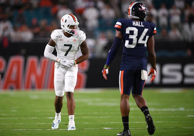 Virginia CB Bryce Hall had an injury-shortened final college season in 2019 but played at an elite level in 2018. (Photo by Mark Brown/Getty Images)
