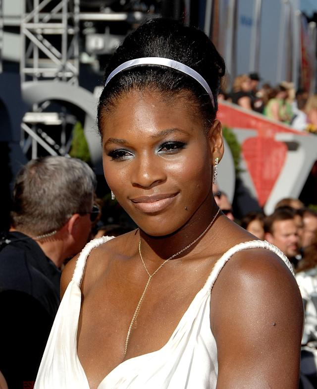 <p>With this shimmery ice-blue eye shadow (paired with her elegant updo), Williams went full-on Cinderella for the 2007 ESPYs. </p>