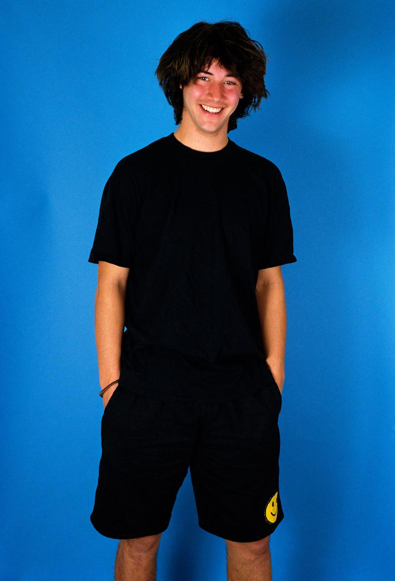 "Keanu Reeves poses during a 1987 photo session for ""Bill & Ted's Excellent Adventure"" in West Hollywood promoting the film."