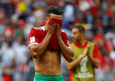 Soccer Football - World Cup - Group B - Portugal vs Morocco - Luzhniki Stadium, Moscow, Russia - June 20, 2018 Morocco's Nabil Dirar looks dejected after the match REUTERS/Kai Pfaffenbach