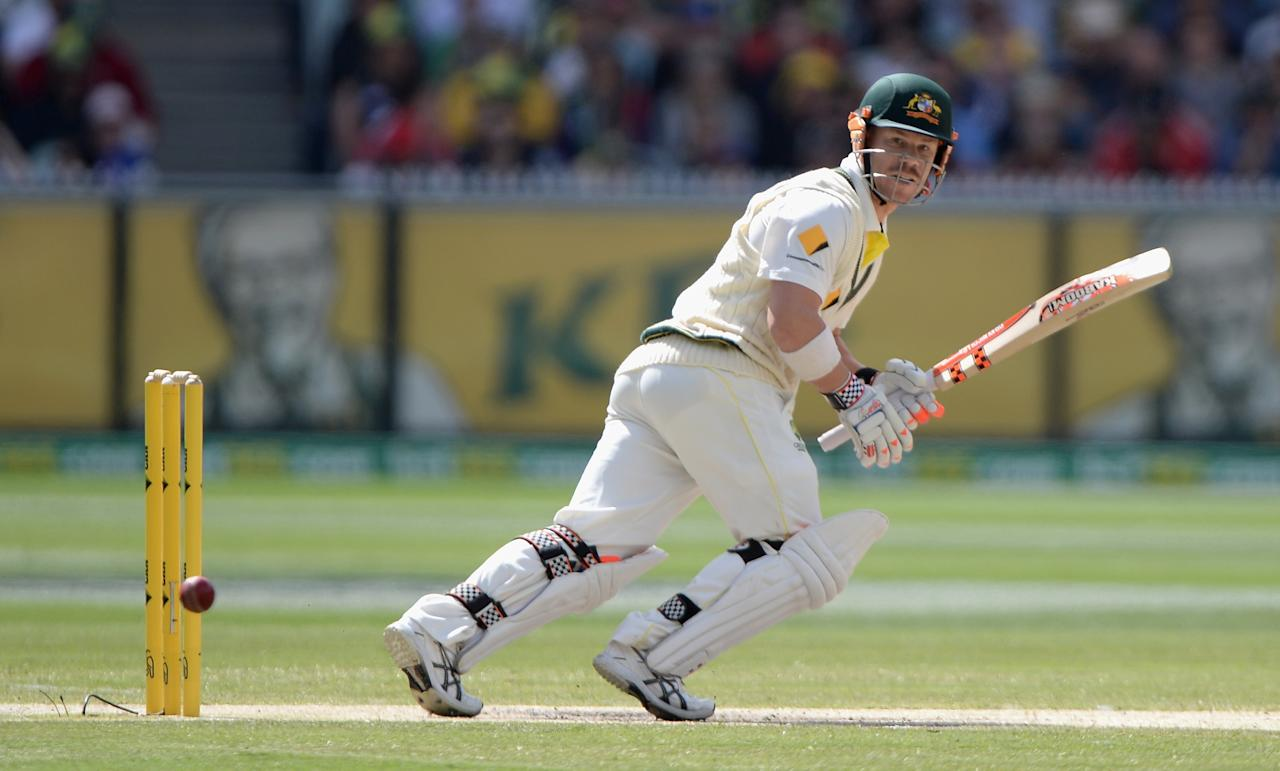 MELBOURNE, AUSTRALIA - DECEMBER 29:  David Warner of Australia bats during day four of the Fourth Ashes Test Match between Australia and England at Melbourne Cricket Ground on December 29, 2013 in Melbourne, Australia.  (Photo by Gareth Copley/Getty Images)