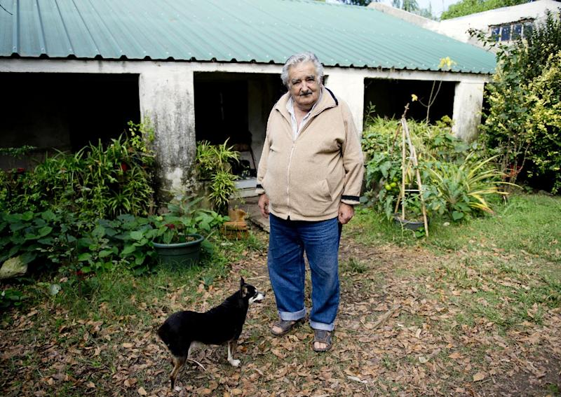 """Uruguay's President Jose Mujica poses for a photo with his dog, Manuela, at his home on the outskirts of Montevideo, Uruguay, Friday, May 2, 2014. Mujica says the country's legal marijuana market will be much less permissive with drug users. """"We don't go along with the idea that marijuana is benign, poetic and surrounded by virtues. No addiction is good,"""" he said. In an exclusive Associated Press interview just before releasing his country's long-awaited marijuana rules, the former leftist guerrilla predicted that many will call him an """"old reactionary"""" once they see the fine print. (AP Photo/Matilde Campodonico)"""