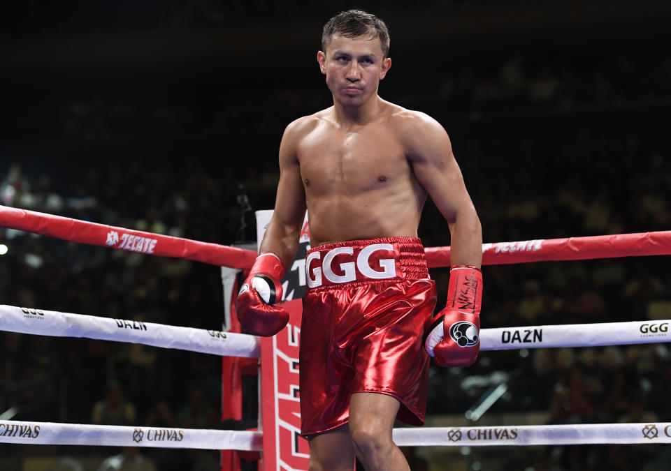 NEW YORK, NEW YORK - JUNE 08: Gennady Golovkin of Kazakhstan looks on during his Super Middleweights fight against Steve Rolls of Canada at Madison Square Garden on June 08, 2019 in New York City. (Photo by Sarah Stier/Getty Images)