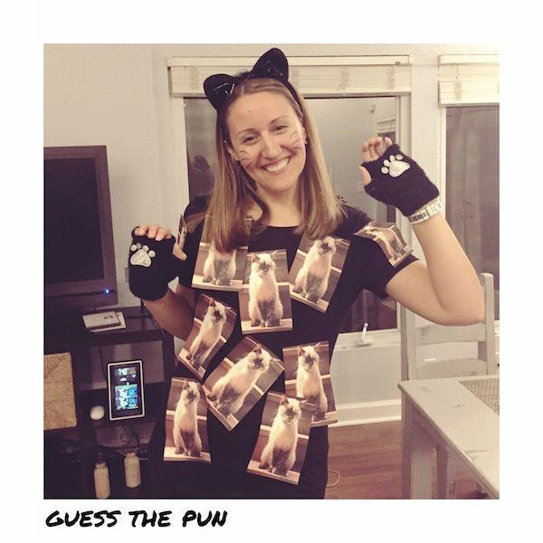 "<p>Feeling a little basic in your black cat costume? This punny twist is an easy way to upgrade your look.</p><p><em><a href=""https://www.thinkingcloset.com/2015/09/28/20-last-minute-punny-halloween-costume-ideas/"" rel=""nofollow noopener"" target=""_blank"" data-ylk=""slk:See more at The Thinking Closet »"" class=""link rapid-noclick-resp"">See more at The Thinking Closet »</a></em></p><p><strong>RELATED</strong>: <a href=""https://www.goodhousekeeping.com/holidays/halloween-ideas/a24184841/diy-cat-costume/"" rel=""nofollow noopener"" target=""_blank"" data-ylk=""slk:4 Easy Cat Costume Ideas That Are Purr-fect to Make at Home"" class=""link rapid-noclick-resp"">4 Easy Cat Costume Ideas That Are Purr-fect to Make at Home</a></p>"