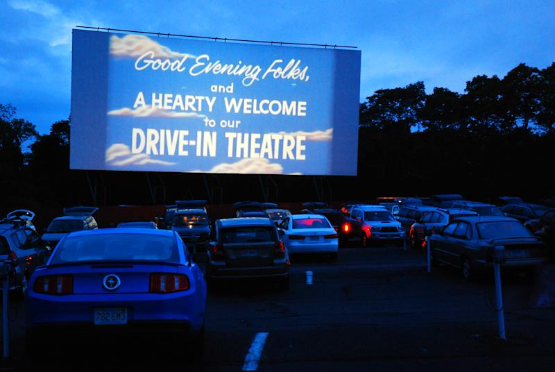 Wellfleet, MA, USA July 8, 2009 The Wellfleet Drive In welcomes its guests to their outdoor theater before the start of their feature movie