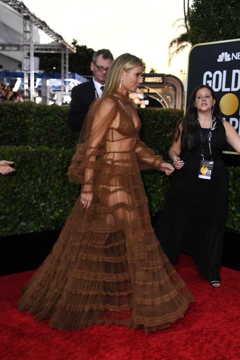 Actress Gwyneth Paltrow arrives for the 77th annual Golden Globe Awards on January 5, 2020, at The Beverly Hilton hotel in Beverly Hills, California. (Photo by VALERIE MACON / AFP) (Photo by VALERIE MACON/AFP via Getty Images)