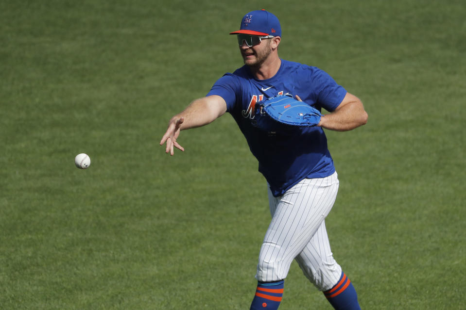 New York Mets star Pete Alonso is back at Citi Field doing drills as part of baseball's attempt to restart for a 60-game season. (AP Photo/Seth Wenig)