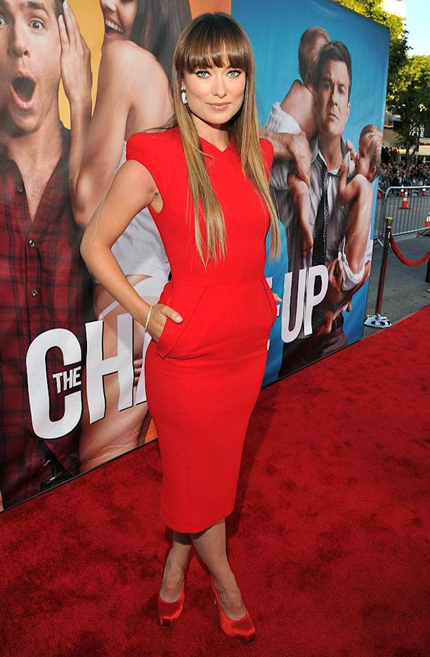 "Olivia Wilde -- who can currently be seen in ""Cowboys & Aliens"" -- stood out on the red carpet at the premiere of her latest movie, ""The Change-Up,"" in a bright Antonio Berardi dress, chic Kara Ackerman jewels, and satin Brian Atwood heels. Lester Cohen/<a href=""http://www.wireimage.com"" target=""new"">WireImage.com</a> - August 1, 2011"