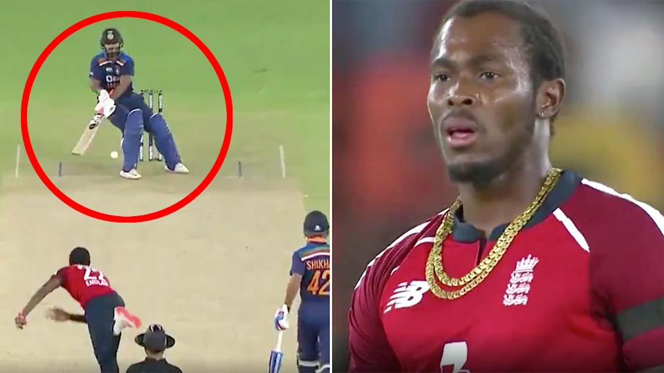 Pictured here, Rishabh Pant hits Jofra Archer for six in India's T20 loss to England.