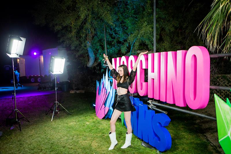 Guest attends the Moschino party in Indio, California, during weekend one of Coachella on Saturday, April 13, 2019. Photograph by Alex Welsh for W magazine.