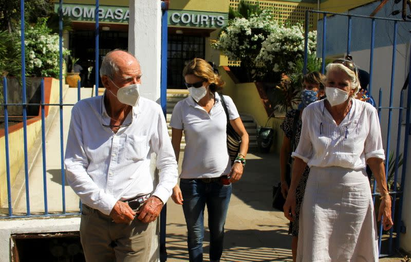 Hilary Manson and her husband John Lockhart leave the high court in Mombasa after the ruling on their son Alexander Monson, 28, who was found dead in his prison cell in 2012, in Mombasa