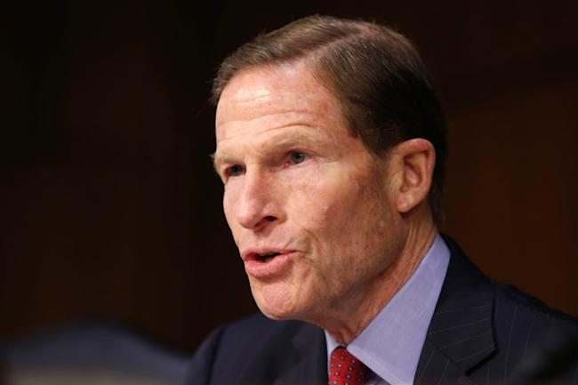 FILE PHOTO: Senator Richard Blumenthal (D-CT) questions Supreme Court nominee judge Neil Gorsuch during his Senate Judiciary Committee confirmation hearing on Capitol Hill in Washington, U.S., March 21, 2017.</p> <p> REUTERS/Joshua Roberts