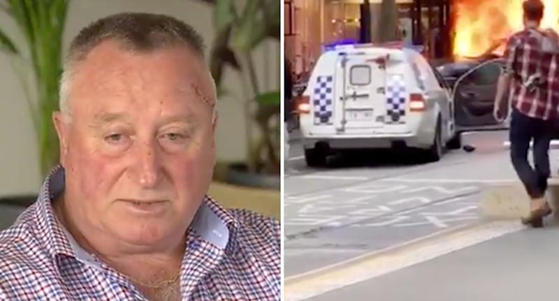 Rod Patterson (left) survived the Bourke Street attack (scene pictured right) in Melbourne