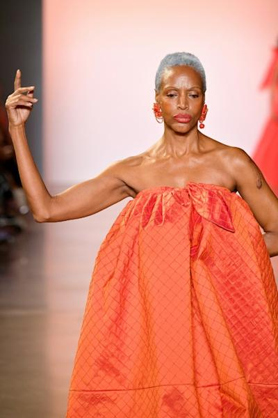 Coco Mitchell modeling for Christopher John Rogers at New York Fashion Week (AFP Photo/Dia Dipasupil)