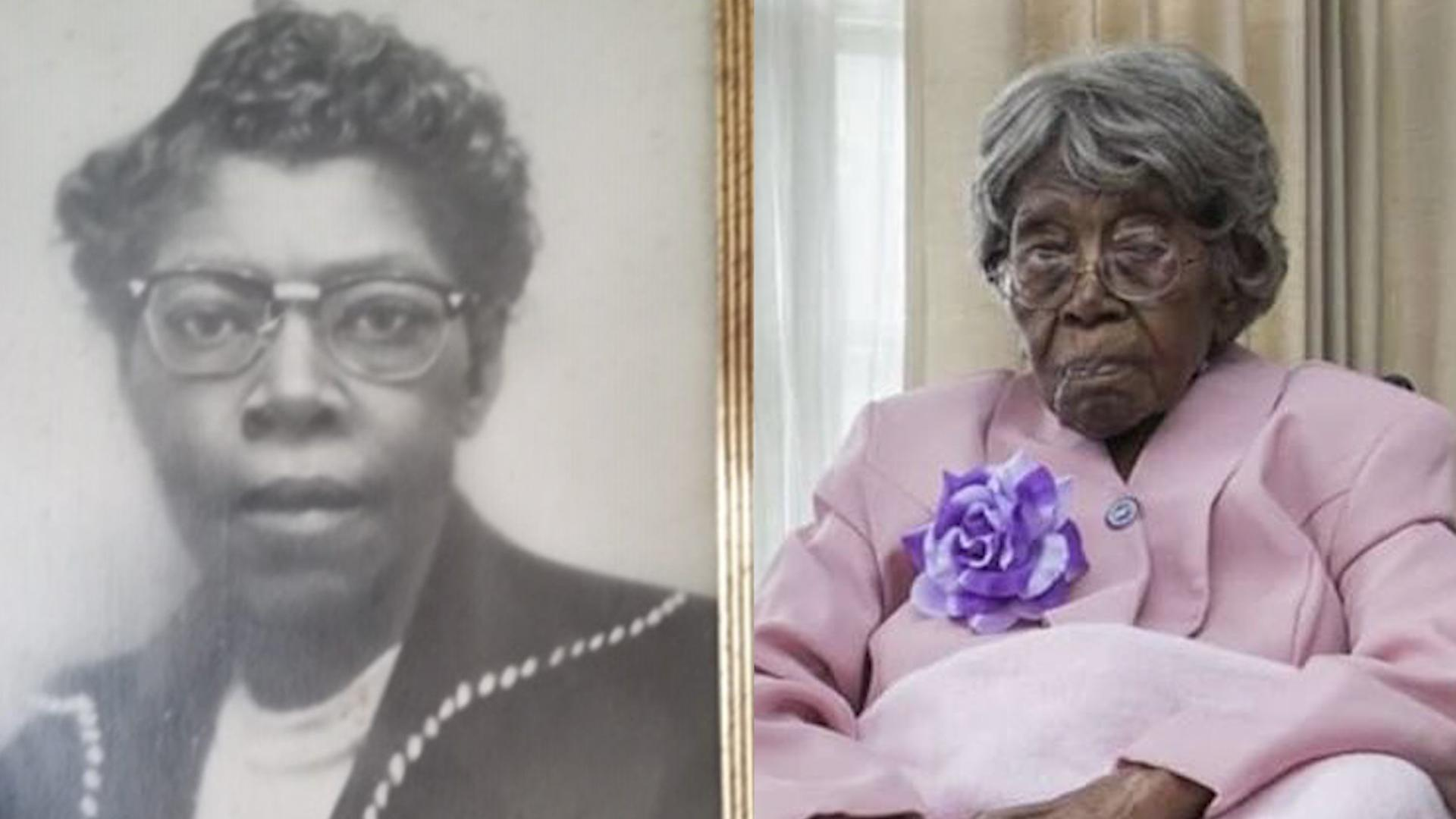 Hester Ford in her youth, left, and today. (Photos courtesy of Mary Hill)