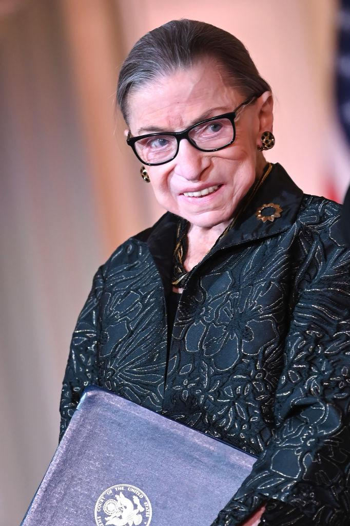 Supreme Court Justice Ruth Bader Ginsburg is seen as she presents the Justice Ruth Bader Ginsburg Inaugural Woman of Leadership Award in February. Source: Getty