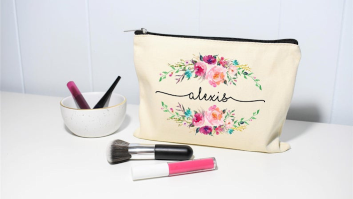 Best personalized gifts 2020: MoonwakesDesignCo Makeup Bag