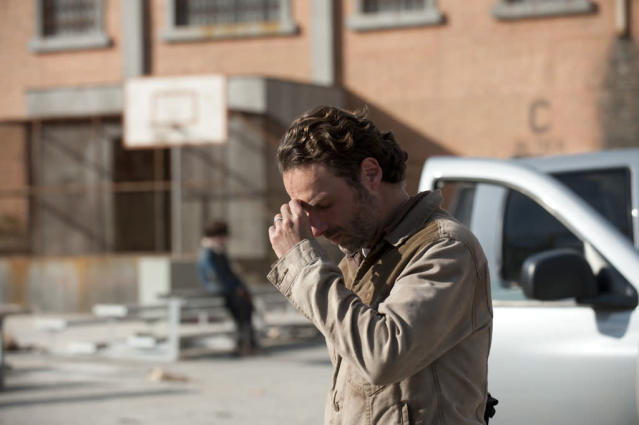 "Rick Grimes (Andrew Lincoln) in ""The Walking Dead"" Season 3 Finale, ""Welcome to the Tombs."""