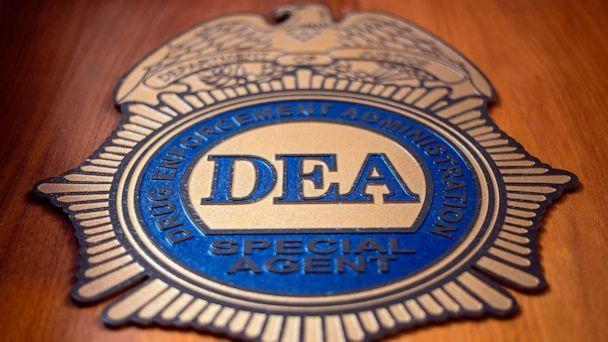 PHOTO: A logo reading DEA Special Agent is pictured in the Office of the US Drug Enforcement Administration (DEA), May 29, 2019, in New York. (Johannes Eisele/AFP via Getty Images)