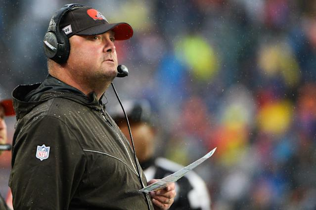 Freddie Kitchens of the Cleveland Browns looks on in the first half against the New England Patriots at Gillette Stadium. (Getty Images)
