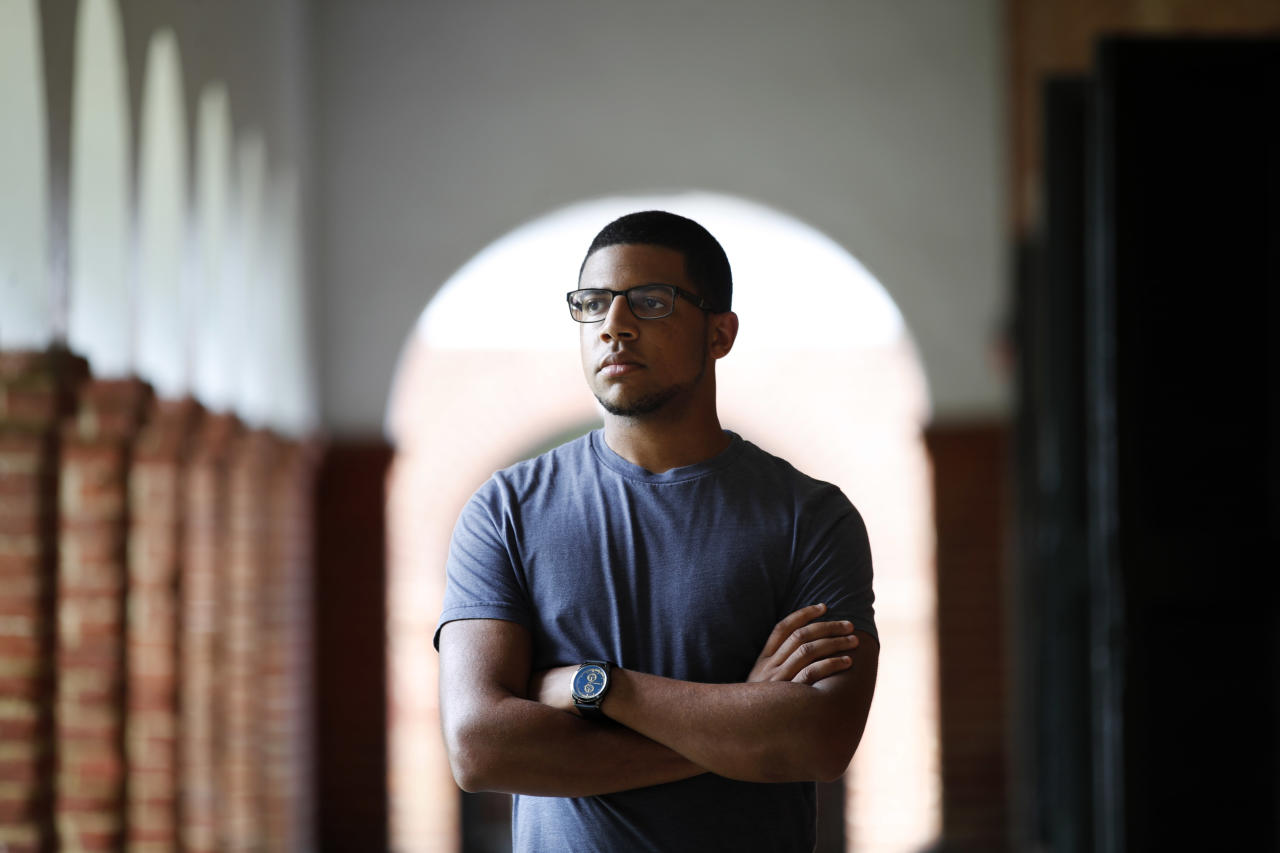Weston Gobar, 21, a fourth year student and president of the Black Student Alliance at the University of Virginia, poses for a portrait, Friday, Aug. 18, 2017, in Charlottesville, Va., a week after a white nationalist rally took place on campus. (AP Photo/Jacquelyn Martin)