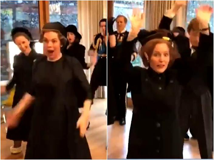 The cast of The Crown dancing to Lizzo before filming a funeral scene in season four (NBC)