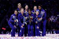 """<p>While gymnasts can wear colorful makeup, bright<a href=""""https://fashionista.com/2012/05/from-scrunchies-to-colored-eyeshadow-olympic-hopeful-alicia-sacramone-dishes-on-the-mysterious-world-of-gymnastics-beauty#2"""" rel=""""nofollow noopener"""" target=""""_blank"""" data-ylk=""""slk:nail polish"""" class=""""link rapid-noclick-resp""""> nail polish</a> is a no-go. It's either neutral or none at all for these athletes. </p>"""