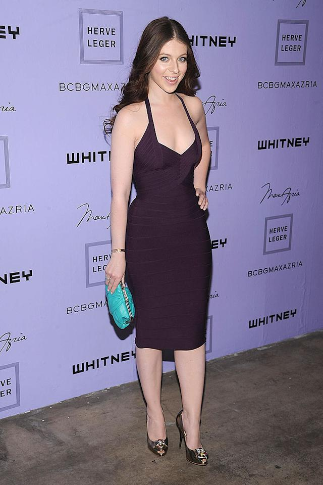 """""""Gossip Girl's"""" Michelle Trachtenberg also dons a Herve Leger number in plum, but why did she pair it with a turquoise clutch? Dimitrios Kambouris/<a href=""""http://www.wireimage.com"""" target=""""new"""">WireImage.com</a> - June 17, 2008"""