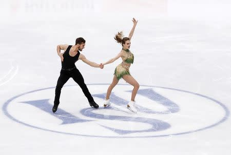 Figure Skating - ISU European Championships 2018 - Ice Dance Short Dance - Moscow, Russia - January 19, 2018 - Gabriella Papadakis and Guillaume Cizeron of France compete. REUTERS/Grigory Dukor