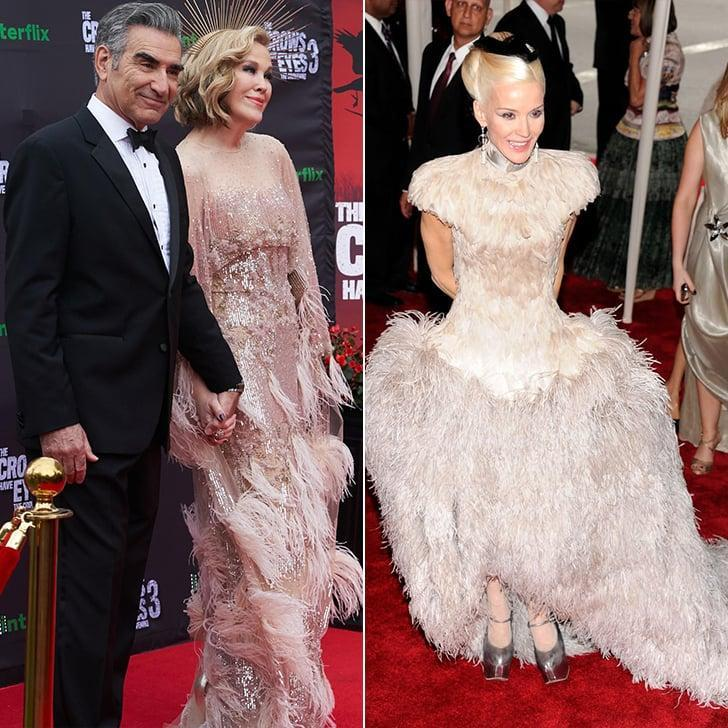 <p>Moira wears her dress to <strong>The Crows Have Eyes 3</strong>'s premiere, whereas Daphne showed up in a flock of feathers to the 2011 Met Gala.</p>