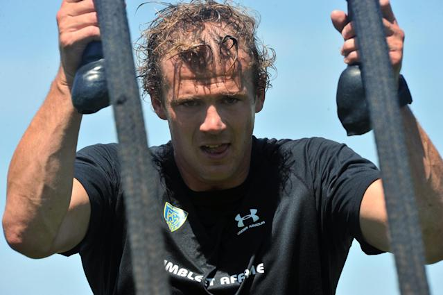 Clermont captain Aurelien Rougerie takes part in a training session at the Stade Des Gravanches stadium in central France, on July 17, 2014 (AFP Photo/Thierry Zoccolan)
