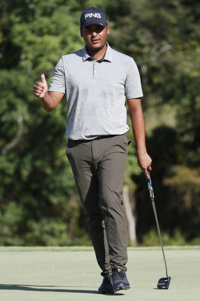 Sebastian Munoz gives the audience a thumbs up on the 16th green during the third round of the Sanderson Farms Championship golf tournament in Jackson, Miss., Saturday, Sept. 21, 2019. (AP Photo/Rogelio V. Solis)