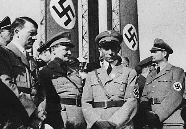 Some of the items being auctioned off belonged to Adolf Hitler (L) and his Nazi commanders Hermann Goering (2nd L) and Joseph Goebbels (C)