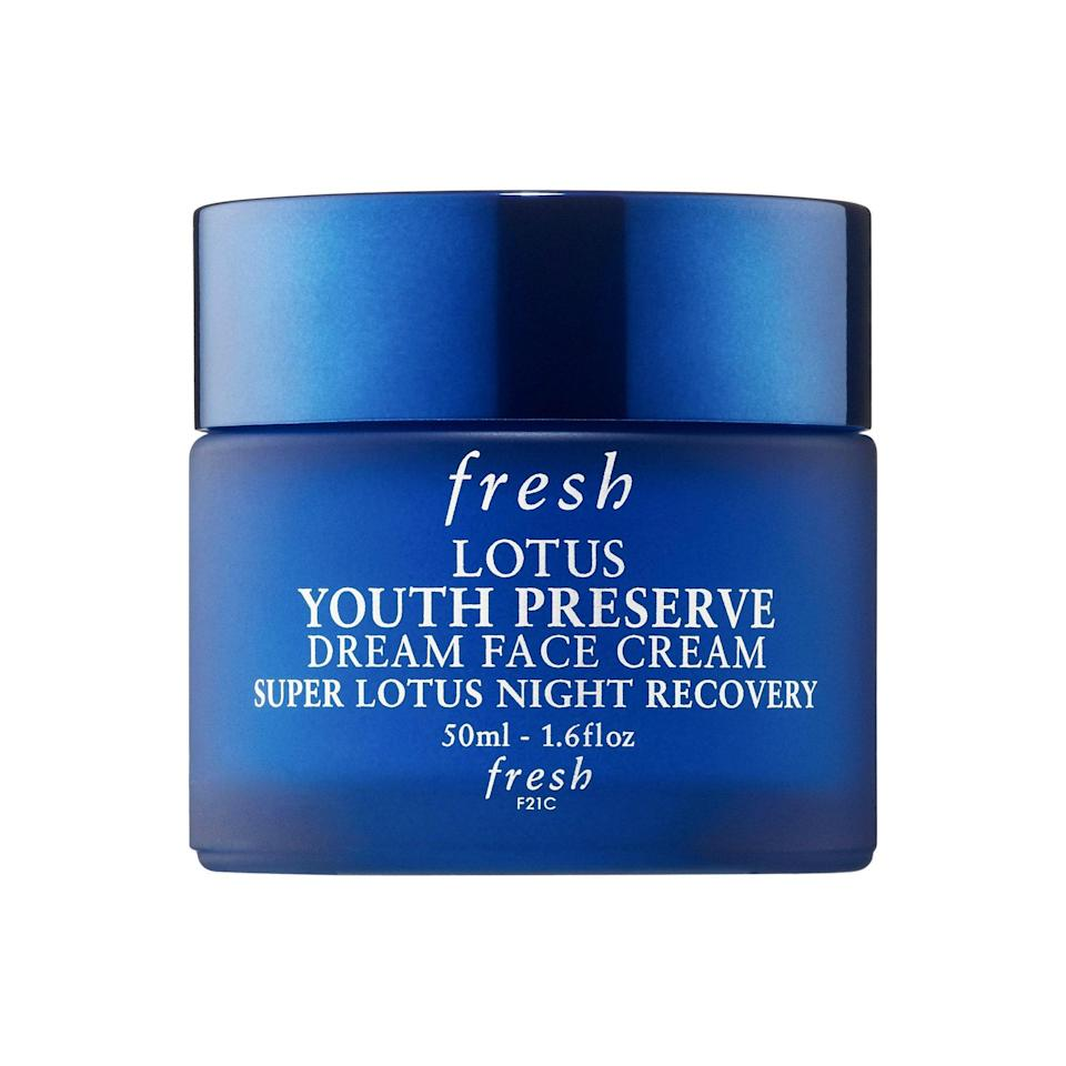 """<p>Fresh Lotus Youth Preserve Dream Night Cream works wonders while you clock in those <em>z's</em>, thanks to a potent blend of super lotus and peach leaf extract that address signs of aging like loss of elasticity, fine lines, and dullness.</p> <p><strong>$48</strong> (<a href=""""https://shop-links.co/1664852232912365658"""" rel=""""nofollow noopener"""" target=""""_blank"""" data-ylk=""""slk:Shop Now"""" class=""""link rapid-noclick-resp"""">Shop Now</a>)</p>"""