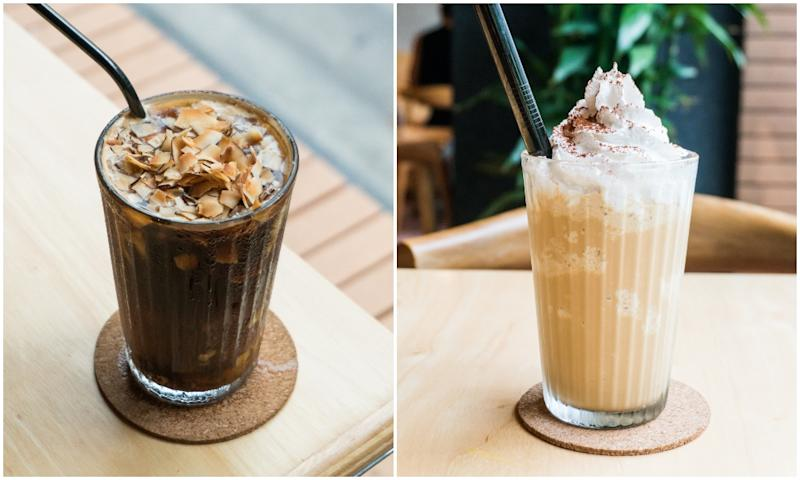 Coconut Long Black (THB120) and Coconuts Coffee Frappe (THB120).