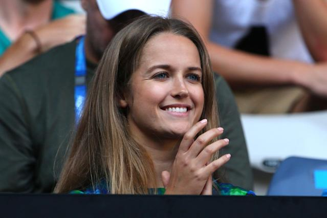 MELBOURNE, AUSTRALIA - JANUARY 21: Kim Sears, girlfriend of Andy Murray of Great Britain, watches the men's fourth round match between Andy Murray of Great Britain and Gilles Simon of France during day eight of the 2013 Australian Open at Melbourne Park on January 21, 2013 in Melbourne, Australia. (Photo by Lucas Dawson/Getty Images)