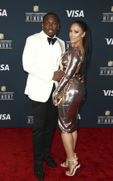 FILE - In this Feb. 4, 2017, file photo, LeSean McCoy of the Buffalo Bills, left, and Delicia Cordon arrive at the 6th annual NFL Honors at the Wortham Center in Houston. Police reports show officers responded Tuesday, July 10, 2018, to several nonviolent disputes at the home where McCoy was attempting to evict his former girlfriend Cordon before an unidentified man bloodied the 34-year-old woman in a home invasion. (Photo by John Salangsang/Invision for NFL/AP Images, File)
