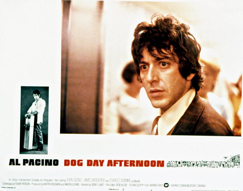 Dog Day Afternoon, poster, Al Pacino, (lobby card-poster art), 1975. (Photo by LMPC via Getty Images)