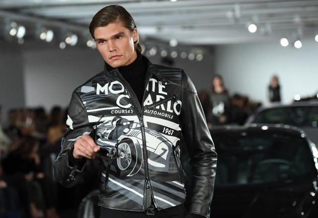 Drawing inspiration from motor racing, Ralph Lauren used lots of leather in the new collection