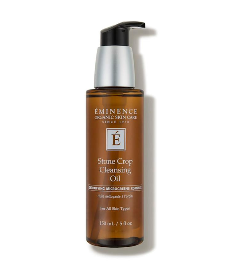 """Using an oil-based cleanser (<a href=""https://fave.co/2AlVPdy"" target=""_blank"" rel=""noopener noreferrer"">Eminence Stone Crop Cleansing Oil</a>) or balm dissolves makeup and gets down into the pores to help loosen up sebum, all without disrupting the skin's delicate lipid barrier."" <strong>&mdash; Mustapich at Facehaus. </strong><a href=""https://fave.co/2AlVPdy"" target=""_blank"" rel=""noopener noreferrer"">Find it for $52 at Dermstore</a>."
