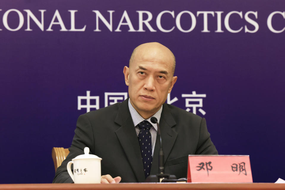 Deng Ming, deputy director of China's National Narcotics Control Commission, attends a press conference in Beijing on Tuesday, May 11, 2021. China on Tuesday said it will add all synthetic cannabinoids to its list of banned drugs, in what it described as a first in the world, to curb their manufacturing, trafficking and abuse. (AP Photo/Ng Han Guan)